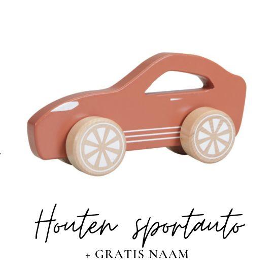 Little Dutch met naam houten sportauto