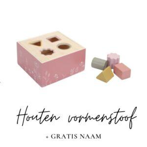 Little Dutch met naam vormenstoof roze