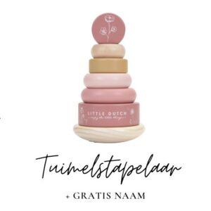 Little Dutch met naam tuimelstapelaar roze