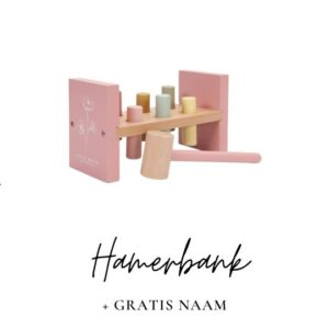 Little Dutch met naam hamerbank roze